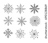 set of  snowflakes isolated on...   Shutterstock .eps vector #690128869