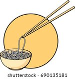 noodles bowl with chopsticks   Shutterstock .eps vector #690135181