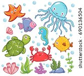 sea kids cute. collection of... | Shutterstock .eps vector #690136504