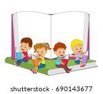 kids  boys and girls sitting on ... | Shutterstock .eps vector #690143677