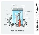 phone repair. flat thin line... | Shutterstock .eps vector #690144007