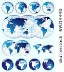 set of world maps | Shutterstock .eps vector #69014440