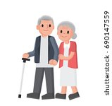 happy grandparents. senior... | Shutterstock .eps vector #690147559