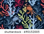 seamless sea pattern with... | Shutterstock .eps vector #690152005