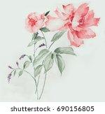 graceful flowers  the leaves... | Shutterstock . vector #690156805