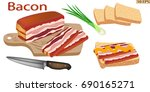 bacon whole. smoked brisket... | Shutterstock .eps vector #690165271