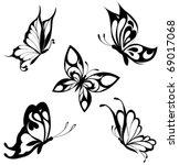 Set  Black White Butterflies O...