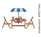 outdoor table with parasol icon ... | Shutterstock .eps vector #690177661