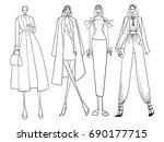 fashion models  lines  girls ... | Shutterstock .eps vector #690177715