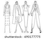fashion models  lines  girls ... | Shutterstock .eps vector #690177775