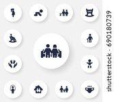 set of 13 family icons set.... | Shutterstock .eps vector #690180739
