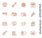 set of 16 cheerful outline... | Shutterstock .eps vector #690182965