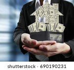 businessman holding full... | Shutterstock . vector #690190231