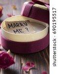 marry me gift box with bow ring ... | Shutterstock . vector #690195517