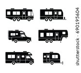 auto rvs  camper vans   camping ... | Shutterstock .eps vector #690195604