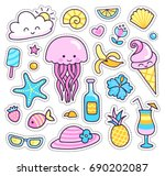 jellyfish  pineapple  cocktail  ... | Shutterstock .eps vector #690202087