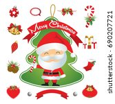 set of christmas decoration... | Shutterstock .eps vector #690207721