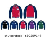 varsity jacket    front and... | Shutterstock .eps vector #690209149