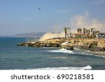 us coastguard helicopter in... | Shutterstock . vector #690218581