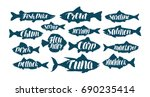 fish  collection labels or... | Shutterstock .eps vector #690235414