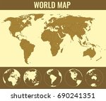 world map with globes.... | Shutterstock .eps vector #690241351