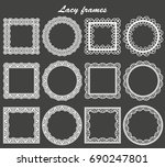 set of lace frames round and... | Shutterstock . vector #690247801