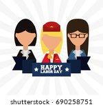 worker celebrating happy labor... | Shutterstock .eps vector #690258751