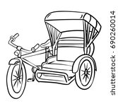 hand drawn sketch of  tricycle  ... | Shutterstock .eps vector #690260014