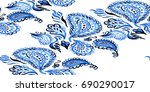 paisley watercolor ethnic... | Shutterstock . vector #690290017