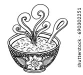 hand drawn doodle of a bowl of... | Shutterstock .eps vector #690302251