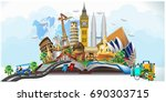 Travel composition with famous world landmarks. Travel and Tourism. Vector illustration 3D | Shutterstock vector #690303715