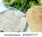 ricepapper roll with pork. a...   Shutterstock . vector #690307177
