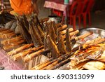 dried and smoked fish and other ... | Shutterstock . vector #690313099