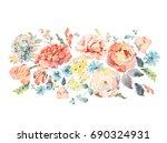 bright vintage natural floral... | Shutterstock . vector #690324931