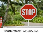 warning attention sign stop at... | Shutterstock . vector #690327661