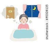 senior women awakened to want... | Shutterstock .eps vector #690328135
