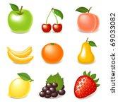 fruit icon set | Shutterstock .eps vector #69033082