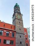 innsbruck s city tower  austria  | Shutterstock . vector #690334975
