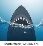 shark in the blue sea... | Shutterstock .eps vector #690339571