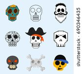 different style skulls faces... | Shutterstock .eps vector #690346435