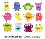funny cartoon monster cute... | Shutterstock .eps vector #690346489
