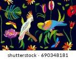 hot tropical summer. seamless... | Shutterstock .eps vector #690348181