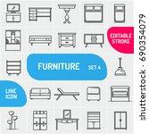 modern thin line furniture...   Shutterstock .eps vector #690354079