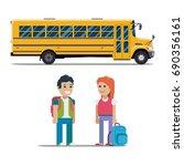 children get on school bus.... | Shutterstock . vector #690356161