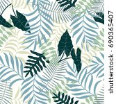 tropical background with palm... | Shutterstock .eps vector #690365407