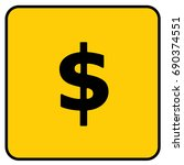 dollar money cash sign yellow.... | Shutterstock .eps vector #690374551