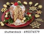 chocolate panettone christmas... | Shutterstock . vector #690376579