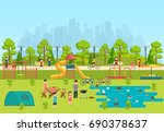 public park with a playground... | Shutterstock .eps vector #690378637