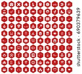100 kids icons set in red... | Shutterstock .eps vector #690379639