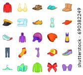clothing repair icons set.... | Shutterstock .eps vector #690382249